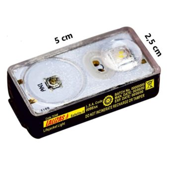 "LUZ LED ""SOLAS"" de chaleco ALCALINA ALKALITE -LALIZAS--(stock 650 unidades)"
